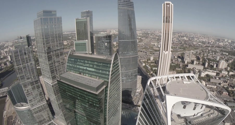 uzun boylu : Aerial view of Moscow International Business Center referred to as Moscow City. Moscow City is a well known commercial district in central Moscow, Russia. Stok Video
