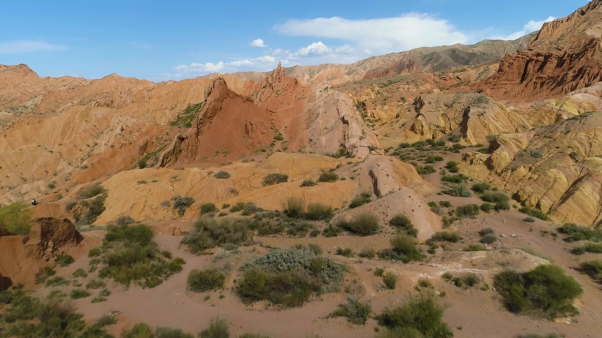 kul : Red Canyon and Blue Sky at Sunny Day. Aerial View. Drone is Flying Forward, Camera is Tilting Up. Establishing Shot Stock Footage