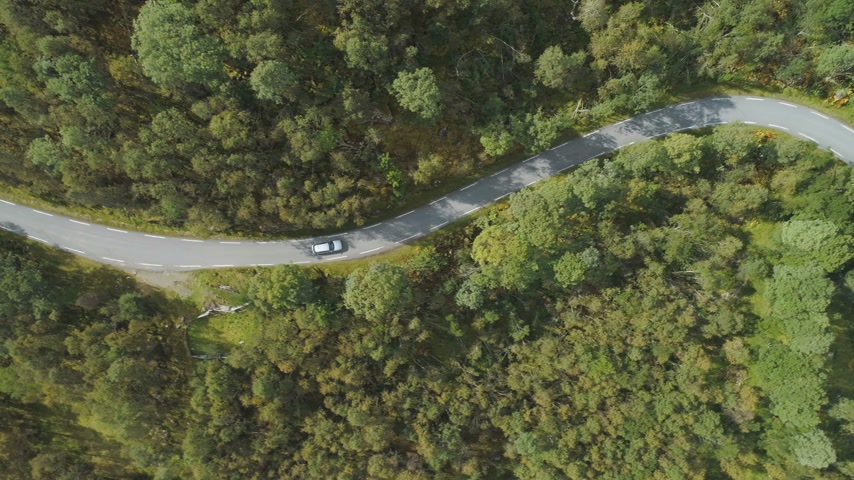 side road : Car is Going on Country Road in Green Forest in Norway in Summer Day. Aerial Vertical Top-Down View. Drone is Flying Sideways