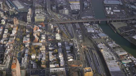 bronx : Long Island City and Newtown Creek. Queens, New York City, United States of America. Aerial View. Reveal Shot
