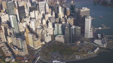 alacsonyabb : Lower Manhattan and Battery Park. Aerial View. New York City. United States of America Stock mozgókép