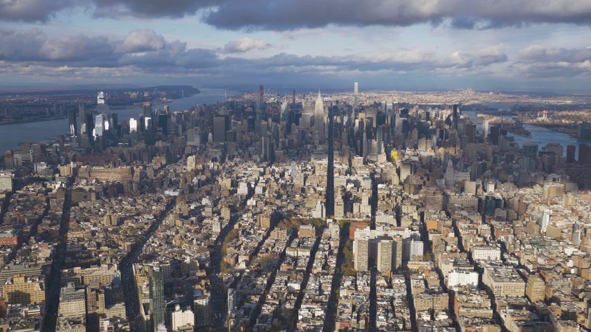 imparatorluk : Cityscape of Manhattan at Sunny Day. Aerial View. New York City. United States of America. Flying Sideways Stok Video