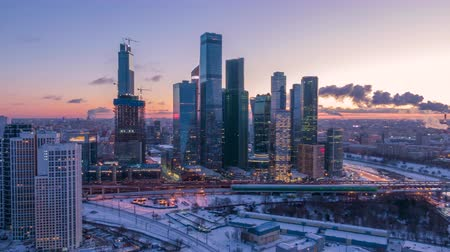 vários : Moscow City Business Center and Urban Skyline in Winter Morning. Russia. Aerial Hyper Lapse. Establishing Shot Stock Footage