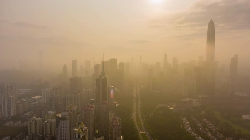 Шэньчжэнь : Shenzhen City in Morning in Haze. China. Aerial View. Drone Flies Sideways and Upwards. Drone Hyper Lapse, Time Lapse