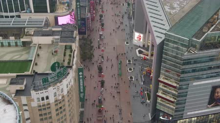 nanjing road : Nanjing Road. Pedestrian Street in Huangpu District. Shanghai City, China. Aerial View. Drone is Orbiting.