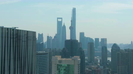 pudong : Shanghai City. Urban Lujiazui Skyline at Sunny Day. China. Aerial View. Drone Flies Forward