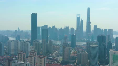 横向きに : Shanghai City. Urban Lujiazui District at Sunny Day. China. Aerial View. Drone Flies Sideways
