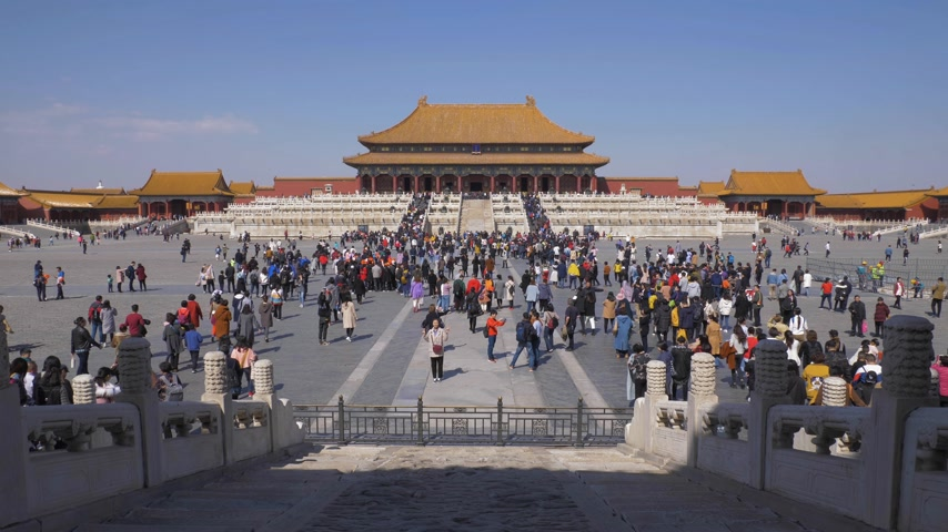 supremo : BEIJING, CHINA - MARCH 15, 2019: Hall of Supreme Harmony in Forbidden City at Clear Day and Tourists. Wide Shot.