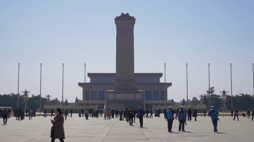 peoples : BEIJING, CHINA - MARCH 15, 2019: Tiananmen Square, Monument to the Peoples Heroes and Mausoleum of Mao Zedong at Clear Day. Medium Shot.