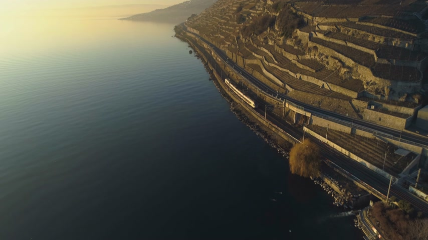 follow shot : Train Goes Along Lake Geneva Shore at Sunset. Terraced Vineyards of Lavaux. Switzerland. Aerial View. Drone Follows Train Stock Footage