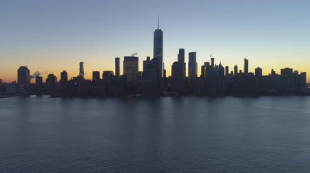 freedom tower : Skyline of Lower Manhattan, New York at Morning Twilight. Aerial View. United States of America