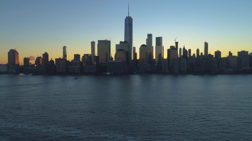 freedom tower : Cityscape of Lower Manhattan, New York at Sunrise. Aerial View. United States of America