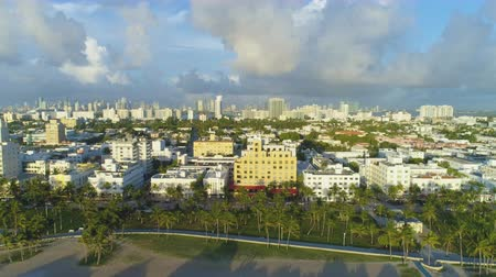 ascend : Miami Beach and Miami Downtown at Sunny Morning. Urban Skyline. Aerial View. United States of America Stock Footage
