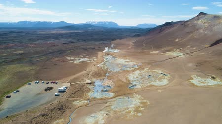 observation deck : Hverir Geothermal Area and Mountains. Namafjall. Sulfur Pools. Iceland. Aerial View. Drone Flies Forward