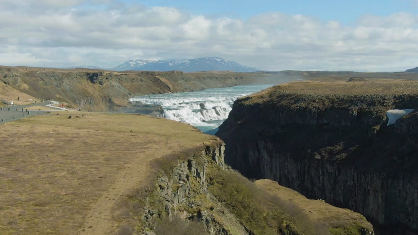 gullfoss : Gullfoss Waterfall. Iceland. Aerial View. Drone Flies Forward. Reveal Shot