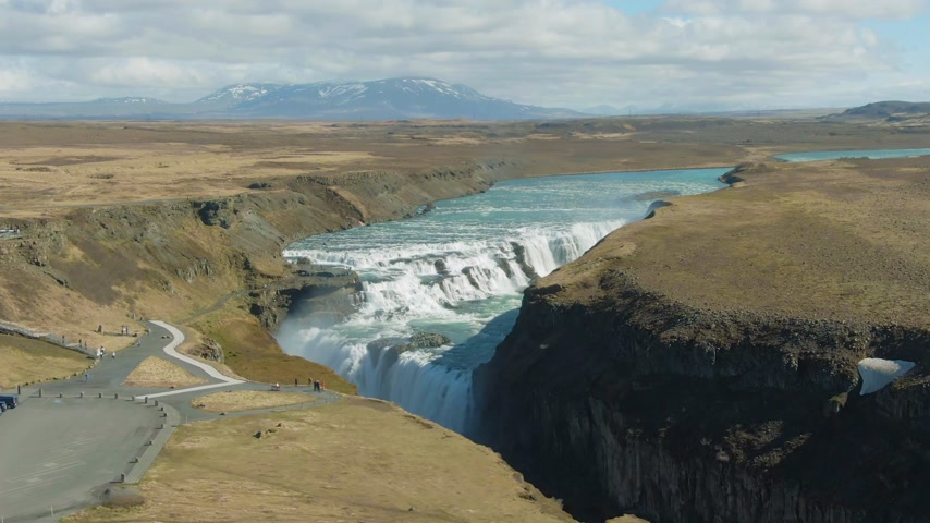 gullfoss : Gullfoss Waterfall. Iceland. Aerial View. Drone is Orbiting
