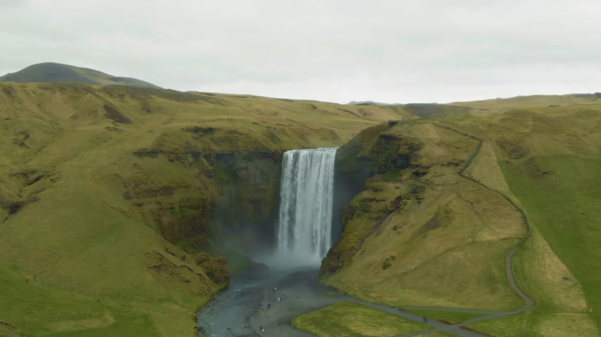 skogafoss : Skogafoss Waterfall. Iceland. Aerial View. Drone Flies Upwards, Tilt Down Stock Footage