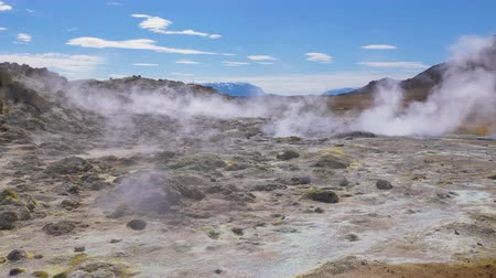 fumarole : Fumaroles in Hverir Geothermal Area. Namafjall. Iceland. Slow Motion Stock Footage