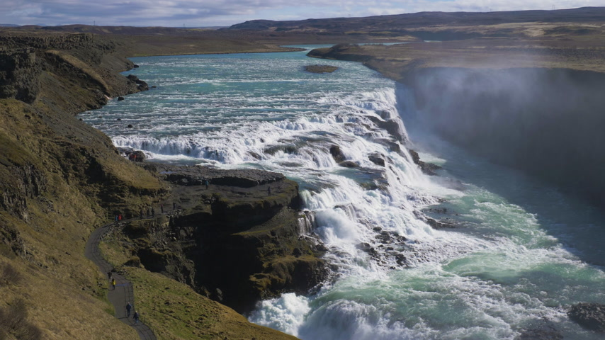 gullfoss : Gullfoss Waterfall on Sunny Day. Iceland. Slow Motion Stock Footage