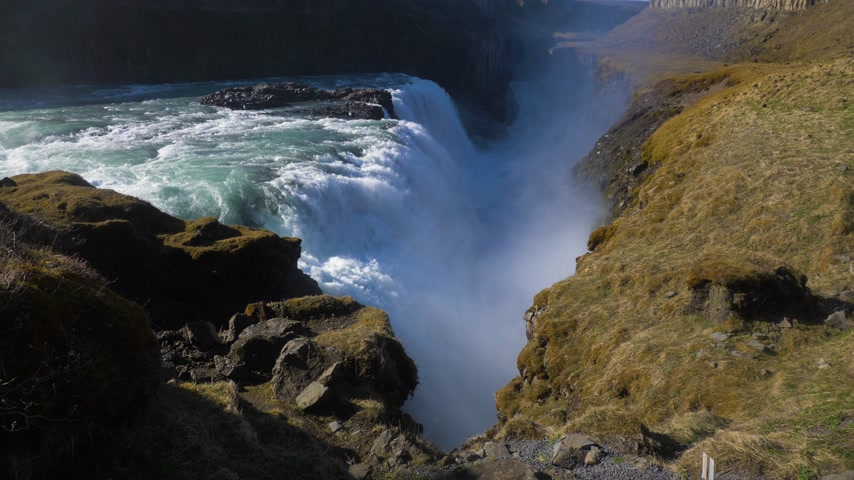 gullfoss : Gullfoss Waterfall. Iceland Slow Motion