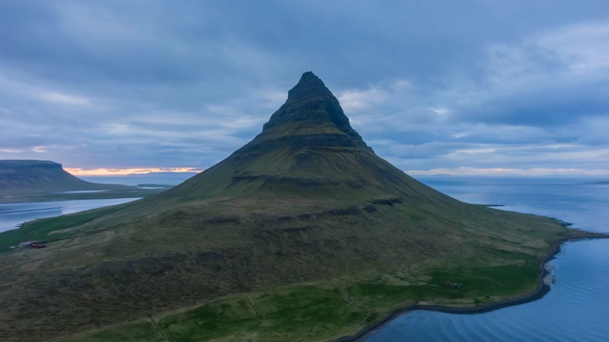 hyper : Kirkjufell Mountain in Summer Evening. Iceland. Aerial Hyper Lapse. Drone is Orbiting Stock Footage