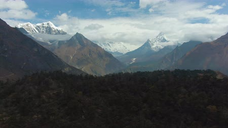 Ama Dablam and Taboche Mountains. Himalaya, Nepal. Aerial View. Drone Flies Forward