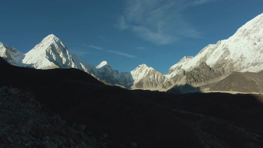 Pumori, Lingtren, Khumbutse and Nuptse Mountains. Himalaya, Nepal. Aerial View. Drone Flies Backwards at Sunset