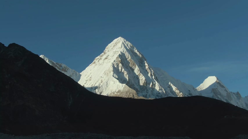 Pumori and Lingtren Mountains. Himalaya, Nepal. Aerial View. Drone Flies Backwards