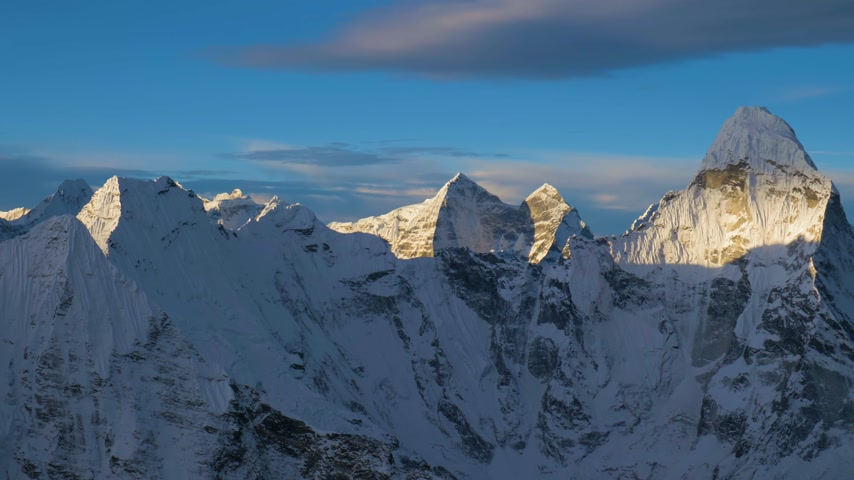 Ama Dablam Mountain at Sunrise. View from Top of Island Peak. Himalaya, Nepal. Medium Panning Shot