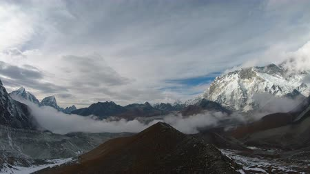 Nuptse and Lhotse Mountains. Himalaya, Nepal. Time lapse