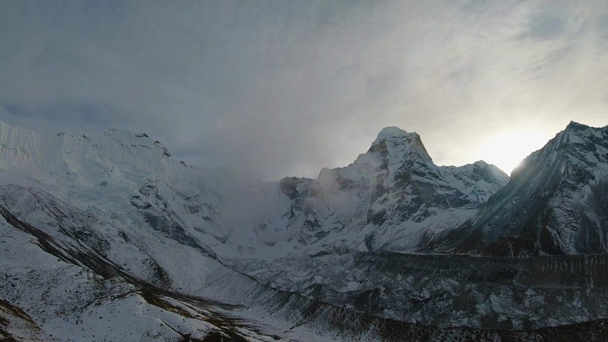 Ama Dablam Mountain. Himalaya, Nepal. Timelapse at Sunset