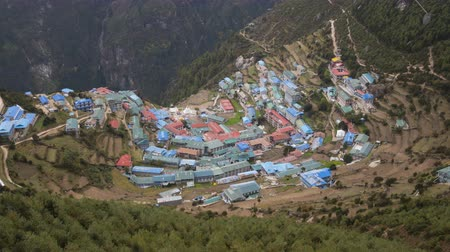Namche Bazaar from above. Himalaya, Nepal. Aerial View. Time Lapse