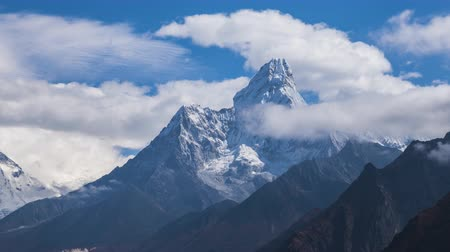himalayan : Ama Dablam Mountain on Sunny Day. Blue Sky. Himalaya, Nepal. Timelapse Stock Footage