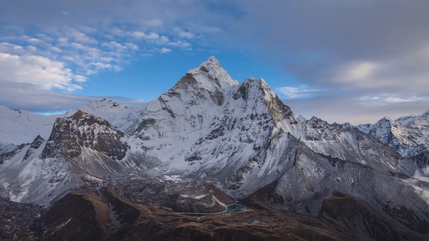 himalayan : Ama Dablam Mountain at Sunset and Twilight. Himalaya, Nepal. Timelapse Stock Footage