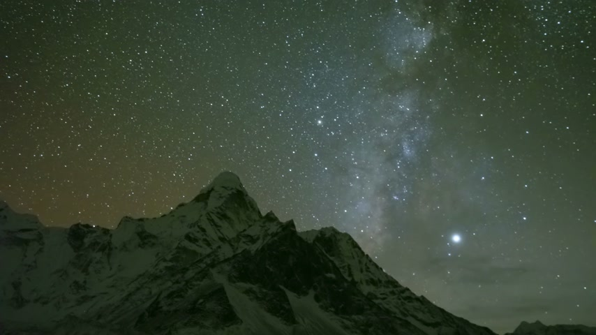 himalayan : Milky Way and Starry Night Sky over Ama Dablam Mountain. Himalaya, Nepal. Timelapse Stock Footage