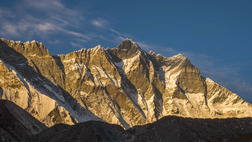 himalája : Lhotse South Face Mountain at Sunset. Himalaya, Nepal. Timelapse Stock mozgókép