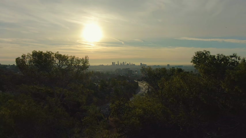 los angeles skyline : Los Angeles Cityscape at Sunrise. California, USA. Aerial View. View From Hollywood Hills. Drone Flies Forward. Reveal Shot Stock Footage