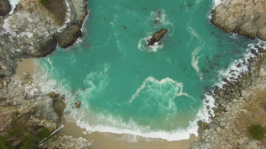 ascend : McWay Beach, McWay Falls and Rocks. Big Sur, California, USA. Aerial Vertical Top-Down View. Drone Flies Upwards