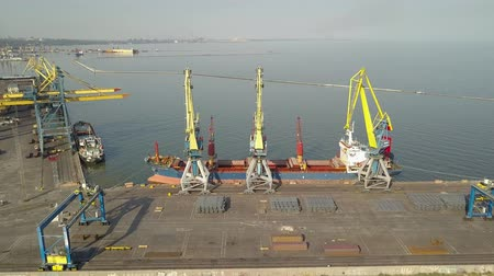 distribution lectrique : Aerial view Port. Port cargo cranes and ship. Sea Stock Footage