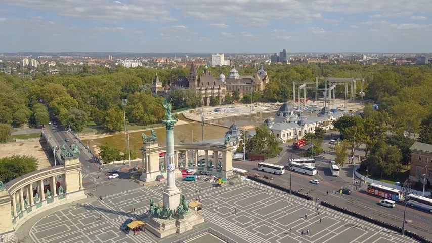 austro hungarian : Aerial video shows the Heroes Square in downtown Budapest, Hungary - 4K drone footage. Aerial view Stock Footage