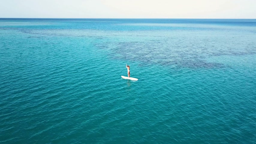volný čas : Aerial view of young girl stand up paddling on vacation. Tracking shot of a young woman SUP boarding Dostupné videozáznamy