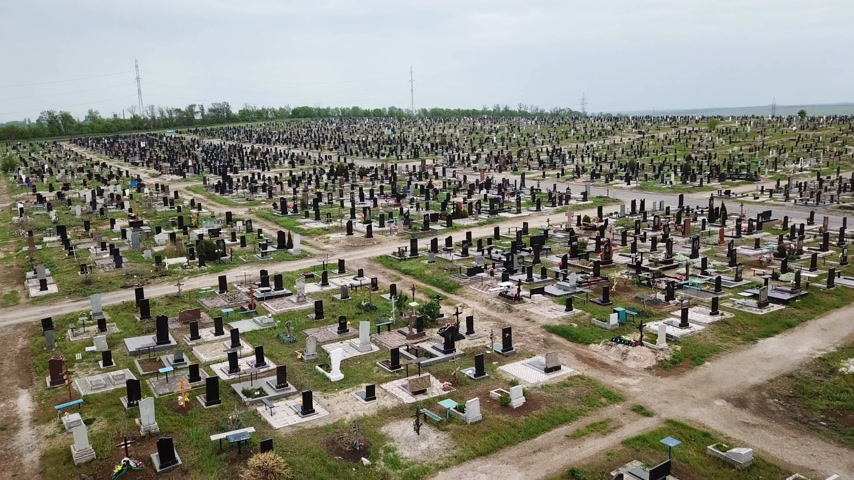 headstone : Aerial view. The biggest cemetery in Europe