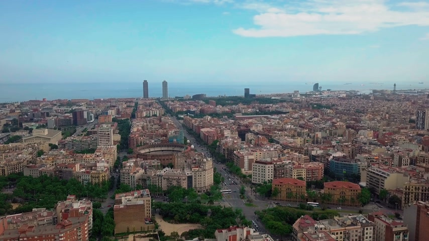 dusk : summer day barcelona cityscape aerial panorama 4k spain