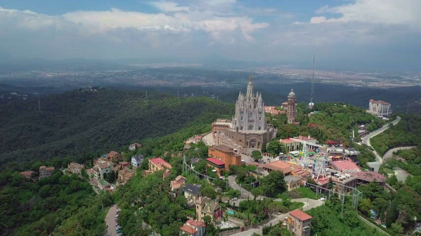 escala : Panorama of Barcelona timelapse from Mount Tibidabo. Catalonia, Spain.
