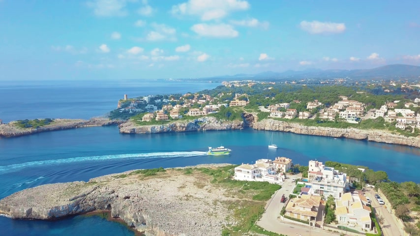 baleár : Aerial view landscape of the beautiful bay of Cala Anguila with a wonderful turquoise sea, Porto Cristo, Majorca, Spain