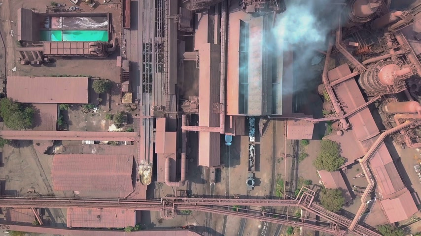pipe tube : Aerial view. Old factory. Stock Footage