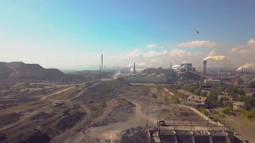 distillation : Aerial view. Industry plant. Smoke pipes