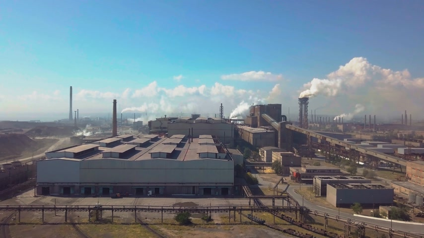 petroleum refinery : Aerial view. Industry plant. Smoke pipes