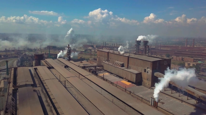greenpeace : Aerial view. Industry plant. Smoke pipes