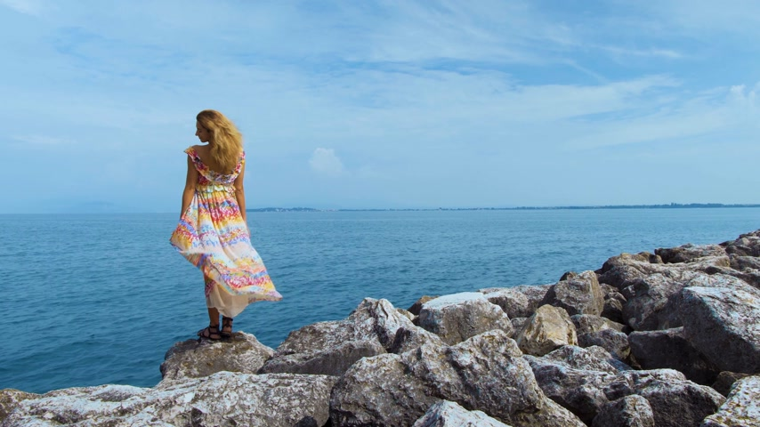 keşif : girl in a beautiful dress is standing on the coast Stok Video